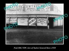 OLD LARGE HISTORIC PHOTO OF PEAK HILL NSW, VIEW OF TAYLORS GENERAL STORE c1920