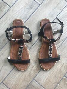 Escape Ladies Grecian Style Sandals w Gold, Bronze & Black Metal Detail, Size 37