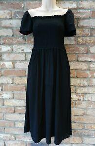 NEXT BNWT Ladies summer black Jersey short sleeve off the shoulder shirred dress