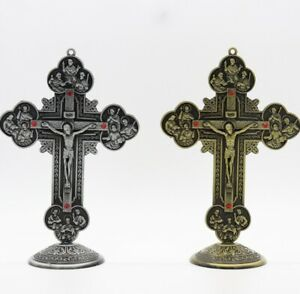 Antique Bronze & Silver Jesus Christ Crucifix Cross For Wall And Home Decoration