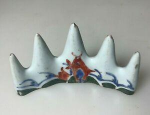 ANTIQUE CHINA CHINESE CERAMIC PORCELAIN TILE PAINTING PEN BRUSHREST QING 19TH C