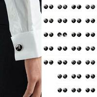 Black Initial Letter Alphabet Mens Cufflink Cuff Link Business Wedding Formal
