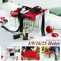 Acrylic Rose Flower Box Makeup Organizer Wedding Artificial Flower Bouquet Clear