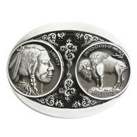 Vintage US 5 Cent Buffalo Nickle Indian Western Black Enamel Metal Belt Buckle