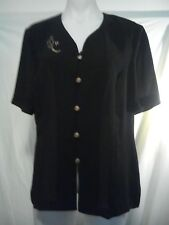 Noni B Ladies Top in Translucent Black with Gilt Buttons and a Relief - Size 14