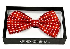 Red with White Polka Dot Men Women Bowtie  Clip-On Neck-wear Tuxedo Adjustable
