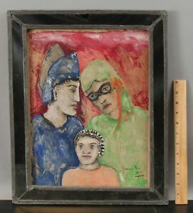 Antique 1933 Signed FRANCIS ROSE Mixed Media Painting, Masquerade Costume Family