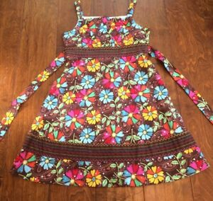 ASHLEY ANN GIRLS Size 10 HALTER SUN DRESS BROWN BLUE PINK flowers and sequins