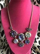 Betsey Johnson Purple Glass Carved Rose Flower Pearl Crystal AB Garden Necklace