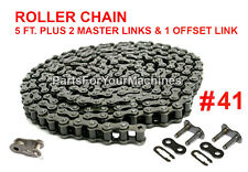 Drive Roller Chain #41, 2 Master Links+1 Offset Link, 5 Ft., Go Karts, Scooters