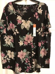 Evri Plus 1X Black Floral Supersoft Relaxed Fit Tee NWT