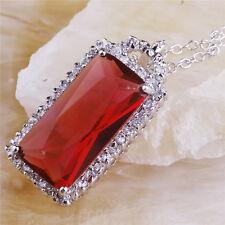 Wedding Gift Emerald Cut Garnet Gemstone Silver Necklace Pendant Free Shipping