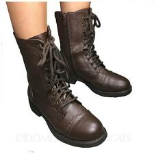 WOMENS 2018 BROWN SUMMER ARMY FAUX LEATHER SHOES LACE UP ANKLE BOOTS SIZE 6
