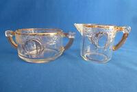 Clear Glass W/Gold Trim Sugar Bowl & Creamer