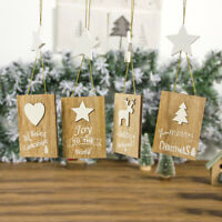 Christmas Wooden Letter Sign Pendant Small Wooden Sign Pendant  Decor Crafts