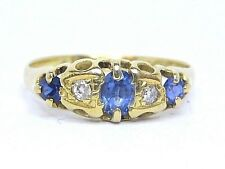 Sapphire Vintage Oval Cut 0.45ct. & Diamonds 0.10ct.Ring Y. Gold 18Carat. Size M