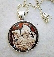 "CAMEO STYLE 1""glass pendant necklace handmade silverplated 20""chain vintage look"