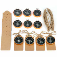 50×Gold Compass Souvenir Gift for Guests Travel Themed Wedding Party Wish Tags