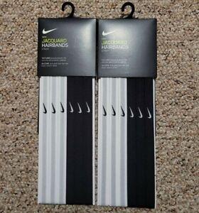 Nike Pack of 6 Jacquard Hairbands Headbands Black White Gray NEW