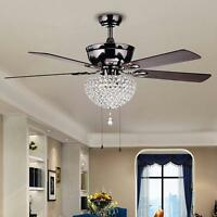 "52"" Crystal Ceiling Fan Chandelier Light Lighting Fixtures Home 3-Light Metal"