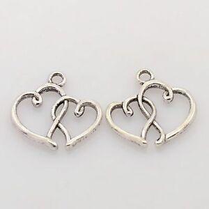 lot de 10 breloques charm pendentif perle scrapbooking coeur double NEUF
