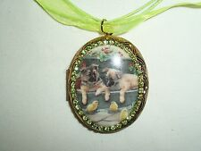 JEWELRY NECKLACE PENDANT 30 x 40mm PUPPIES / DOGS PORCELAIN CAMEO PICTURE LOCKET