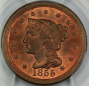 1855 Braided Hair Large Cent 1c, PCGS MS-64 RB Upright 55 *Mostly Red*