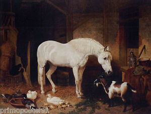STABLEMATES BARN HORSE GOAT DUCK PAINTING BY JOHN FREDERICK HERRING REPRO