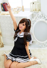 Fashion Japanese Japan School Girl Sailor Uniform Dress Maid Cosplay Costume  `