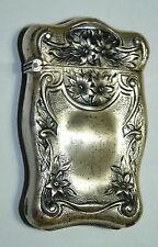 Antique vtg Victorian Art Nouveau/Deco Match Holder Sterling Silver Floral b8