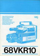 LIBRO ISTRUZIONI X L'USO TELECAMERA VHS MOVIE 68 VKR 10 - PHILIPS + ADATTATORE