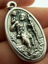 Saint St. Christopher Travel Protect Us Silver P Medal