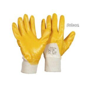 144  Paar  Nitrilhandchuhe, teilbeschichtet, gelb , Strickbund, Gr. 9 - 11