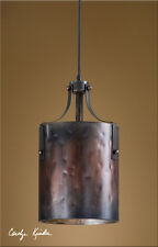 Rustic Tuscan Western Industrial Brown Copper Akron Mini Pendant Light Fixture
