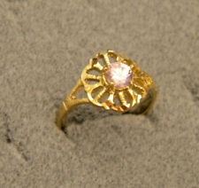 Lady's Girl's Yellow Gold Plated Fashion Ring Size 7.5 Pink Round CZ