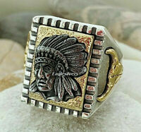 Handmade 925 Sterling Silver Indian Chief Head & Buffalo Men's Woman's Ring