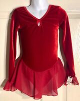 GK RED VELVET ICE FIGURE SKATE CHILD SMALL LgSLV WRIST RUFFLE FOIL DRESS Sz CS