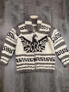 vintage COWICHAN handknit sweater XL full zip EAGLE chunky knit filson