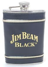 Jim Beam Black Bourbon Whiskey Black Leather Wrapped Stainless Steel Flask 8 oz