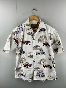 North River Outfitters Mens Vintage Short Sleeve Casual Truck Shirt Size M White