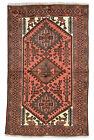 Vintage Tribal Oriental Hamadan Rug, 4'x6', Red, Hand-Knotted Wool Pile