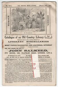 Bookseller catalogue: Ivy House Book Store, March 20th, 1922