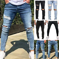 Herren Cargo Jogger Slim Denim Skinny Jogging Destroyed Jeanshose Stretch Hosen