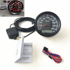 85MM 200KM/H Car Boat Gauge Trim Analog GPS Speedometer Digital Odometer Red LED