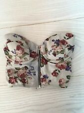 TOPSHOP Cropped Floral Underwired Bustier Zip Up Top Size 32D