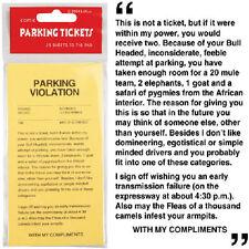 25 pc Yellow Parking Ticket Violations Novelty Gag Gift Fake Prank Sheets