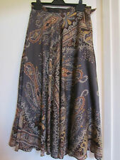 Brown & Orange Paisley CC Country Casuals Long or Maxi Skirt in Size 8 / 10