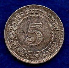 Insediamenti dello Stretto, Edoardo VII, 1903 5 CENTESIMI, migliore qualità (rif. c5621)