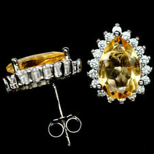 Natural 7.0x10mm Golden Yellow CITRINE & White CZ 925 Silver STUD Pear EARRINGS