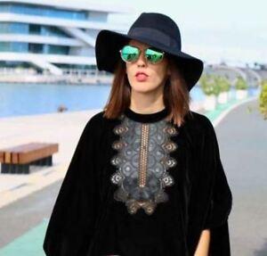 ZARA Black Velvet Top with Embroidered Bib M One Size  BNWT REF 2731 258